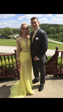 Custom Yellow Size 4 Prom Straight Dress on Queenly