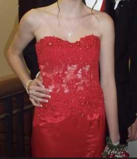 Jovani Red Size 2 Strapless Print Side slit Dress on Queenly