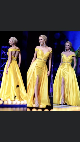 Queenly size 2 Tony Bowls Yellow Side slit evening gown/formal dress