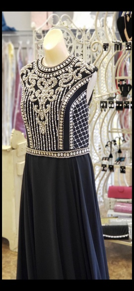 Jovani Black Size 10 Beaded A-line Dress on Queenly