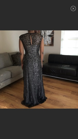 Adrianna Papell Black Size 6 Shiny Straight Dress on Queenly