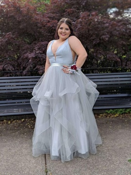 Queenly size 18  Silver Ball gown evening gown/formal dress