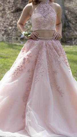 Sherri Hill Pink Size 2 Halter Two Piece Lace Ball gown on Queenly