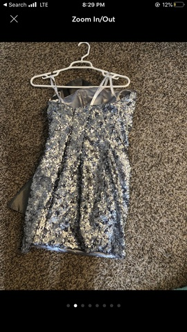 Tony Bowls Silver Size 12 Strapless Plus Size Shiny Cocktail Dress on Queenly