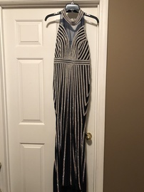 Jovani Blue Size 4 Halter Pageant Straight Dress on Queenly