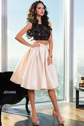 Jovani Black Size 6 Homecoming Two Piece Cocktail Dress on Queenly