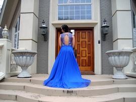 Rachel Allan Blue Size 4 Train Straight Dress on Queenly