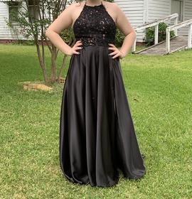 Queenly size 12 Sherri Hill Black Side slit evening gown/formal dress