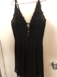 Queenly size 16  Black A-line evening gown/formal dress