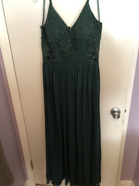 Queenly size 14  Green Side slit evening gown/formal dress