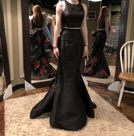 Sherri Hill Black Size 00 Prom Two Piece Mermaid Dress on Queenly