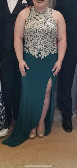 Queenly size 16 Mori Lee Green Side slit evening gown/formal dress