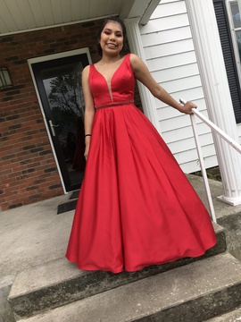 Sherri Hill Red Size 4 V Neck Pockets Ball gown on Queenly