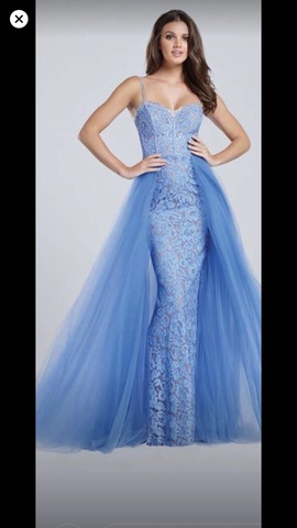 Ellie Wilde Blue Size 8 Train Lace Pageant Mermaid Dress on Queenly