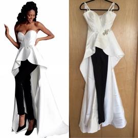 Jovani White Size 0 Overskirt Jumpsuit Romper/Jumpsuit Dress on Queenly
