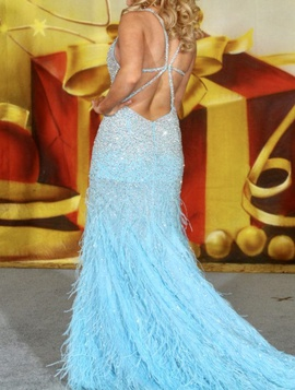 Mac Duggal Blue Size 4 Feather Train Dress on Queenly