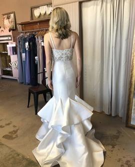 Jovani White Size 2 Wedding Sequin Mermaid Dress on Queenly
