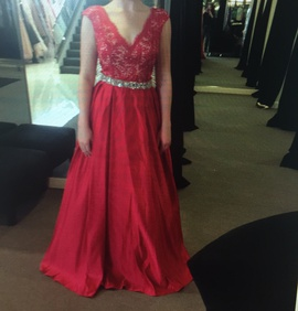 Queenly size 4 Jovani Red A-line evening gown/formal dress