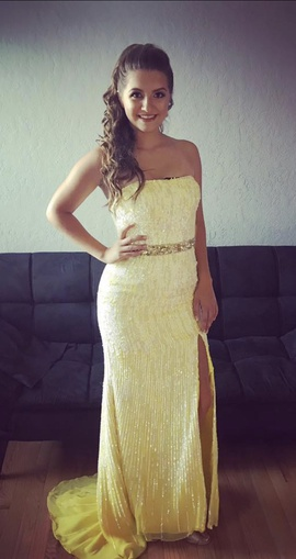 Sherri Hill Yellow Size 2 Train Dress on Queenly