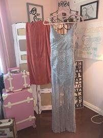 Queenly size 4 Windsor Silver Side slit evening gown/formal dress