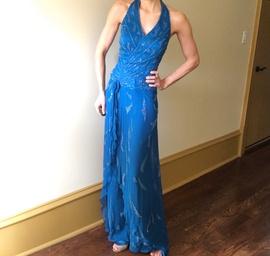 Alyce Paris Blue Size 6 Medium Height Romper/Jumpsuit Dress on Queenly