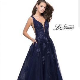 La Femme Blue Size 4 Backless Sheer Tulle Ball gown on Queenly