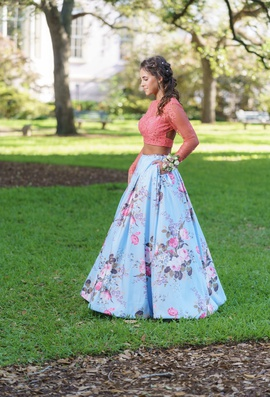 Sherri Hill Multicolor Size 2 Lace Backless Two Piece Ball gown on Queenly