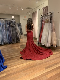 Jovani Red Size 0 Prom Pageant Jersey Train Dress on Queenly