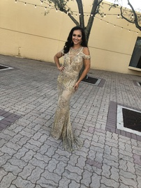 Queenly size 2 Mac Duggal Gold Straight evening gown/formal dress