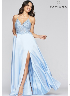 Queenly size 8 Faviana Blue A-line evening gown/formal dress