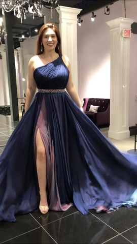 Jovani Blue Size 4 Side Slit Custom Side slit Dress on Queenly