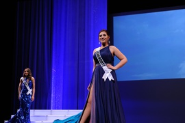 Queenly size 4 Jovani Blue Side slit evening gown/formal dress