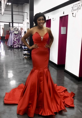 Queenly size 6  Red Mermaid evening gown/formal dress