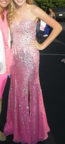 Sherri Hill Pink Size 2 Strapless Shiny Side slit Dress on Queenly