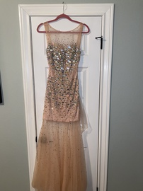 Jovani Pink Size 4 Sheer Sequin Straight Dress on Queenly
