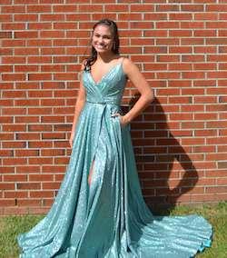 Sherri Hill Blue Size 2 Plunge Side slit Dress on Queenly