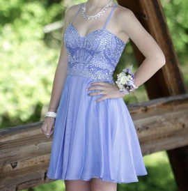 Sherri Hill Blue Size 00 Sweetheart Cocktail Dress on Queenly