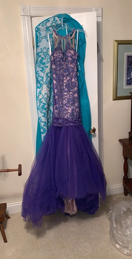 Queenly size 00 Sherri Hill Purple Mermaid evening gown/formal dress