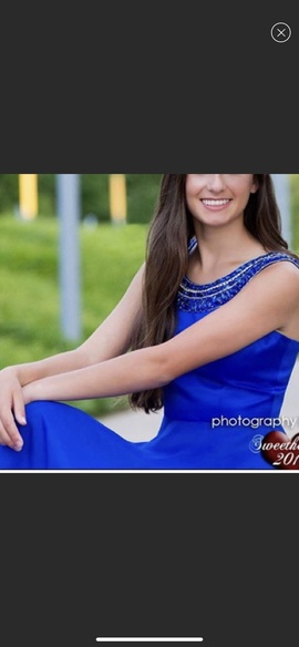 Sherri Hill Blue Size 4 Medium Height Ball gown on Queenly