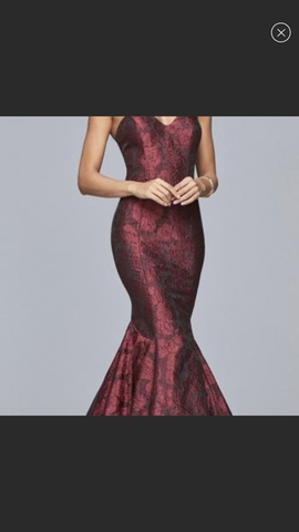 Faviana Red Size 14 Maroon Mermaid Dress on Queenly