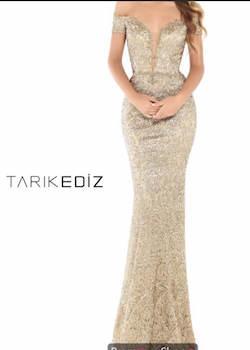 Tarik Ediz Gold Size 6 Plunge Mermaid Dress on Queenly