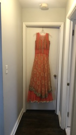 Custom Orange Size 8 Gold Lace A-line Dress on Queenly