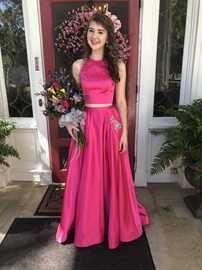 Sherri Hill Hot Pink Size 2 Pockets Sequin Satin Ball gown on Queenly