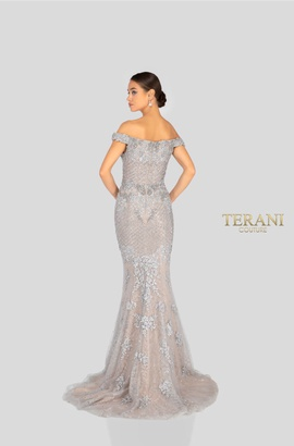 Terani Couture Silver Size 0 Jewelled Train Mermaid Dress on Queenly