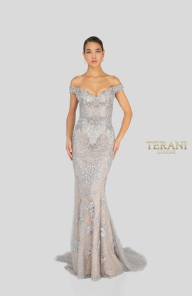 Queenly size 0 Terani Couture Silver Mermaid evening gown/formal dress