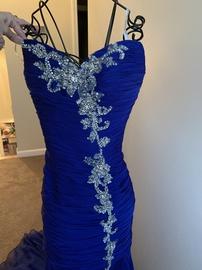 Jovani Blue Size 4 Train Mermaid Dress on Queenly