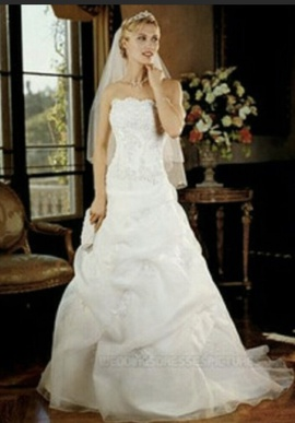 David's Bridal White Size 10 Mermaid Wedding Plunge Ball gown on Queenly