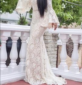 Jovani White Size 6 Medium Height Train Dress on Queenly