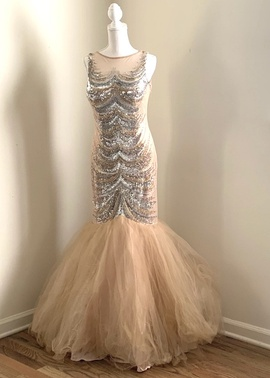 Queenly size 10  Nude Mermaid evening gown/formal dress