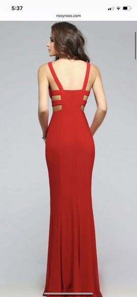 Faviana Red Size 8 Cut Out Jersey Plunge Cocktail Dress on Queenly